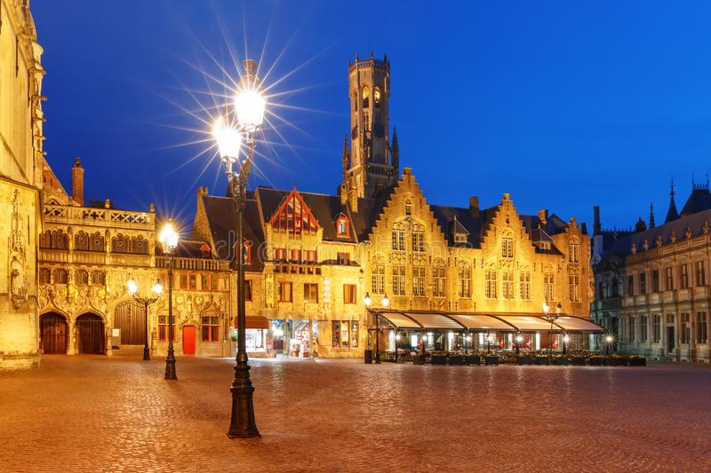Burg Square in Bruges, Belgium. Scenic night cityscape with a medieval tower Belfort and Burg Square in Old Town of Bruges, Belgium royalty free stock photos