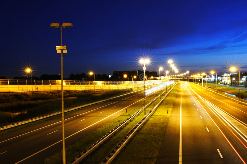 A Scenic Night Highway Stock Images