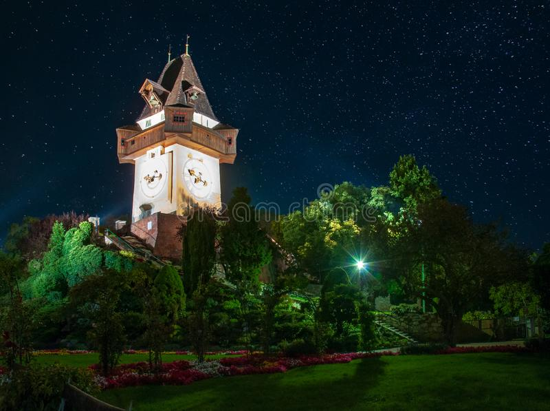 Scenic night view of famous Grazer Uhrturm - clock tower, Graz, Styria region, Austria stock image