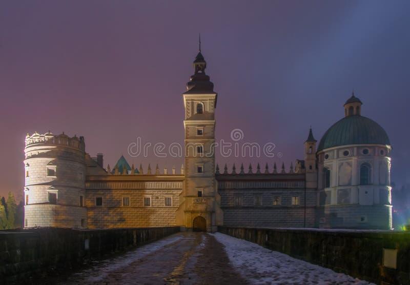 Scenic nightscape of renaissance castle in Krasiczyn, Podkarpackie voivodeship, Poland royalty free stock photos