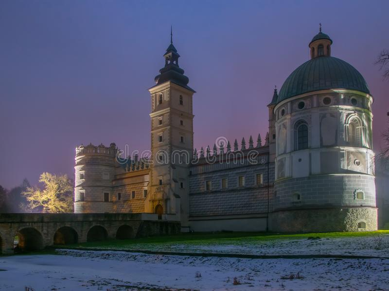 Scenic nightscape of renaissance castle in Krasiczyn, Podkarpackie voivodeship, Poland royalty free stock photo