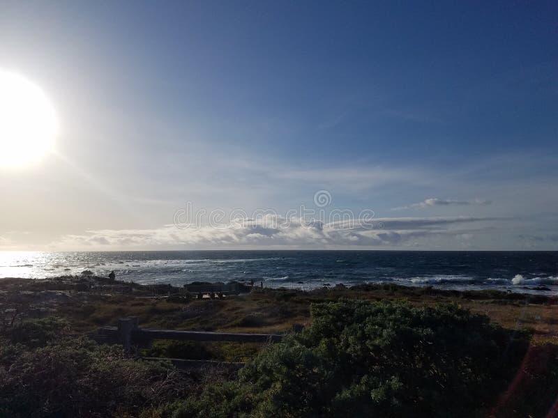 Seashore as sun starts to set royalty free stock images