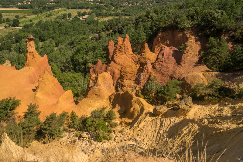 Scenic ocher Colorado Provencal canyon in Provence region of France. Scenic and colorful ocher Colorado Provencal sand canyon in Provence region of France stock photo