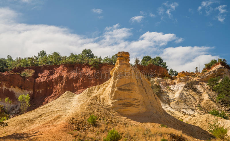 Scenic ocher Colorado Provencal canyon in Provence region of France. Scenic and colorful ocher Colorado Provencal sand canyon in Provence region of France royalty free stock image