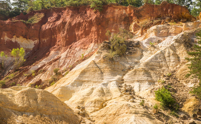 Scenic ocher Colorado Provencal canyon in Provence region of France. Scenic and colorful ocher Colorado Provencal sand canyon in Provence region of France royalty free stock photo