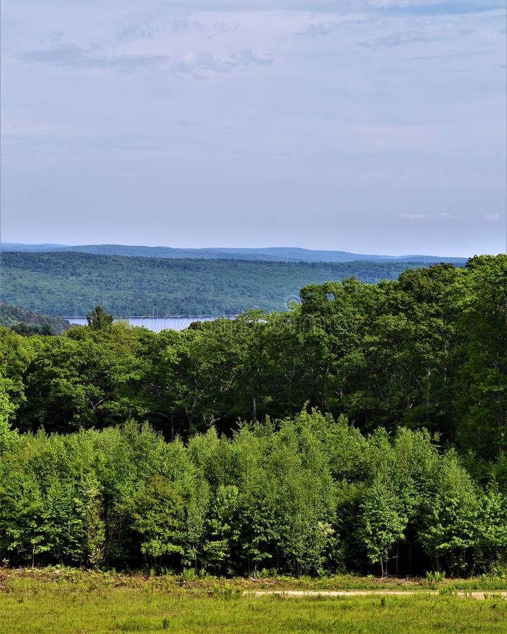 Quabbin Reservoir Watershed, Quabbin Swift River Valley Region of Massachusetts, United States, US,. Scenic overlook of Quabbin Valley which is located in royalty free stock images