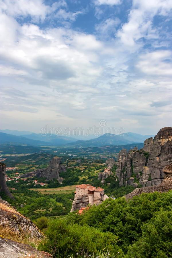 Scenic panoramic view to Meteora monasteries royalty free stock photos