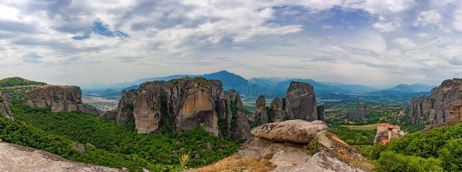 Scenic panoramic view to Meteora monasteries stock image