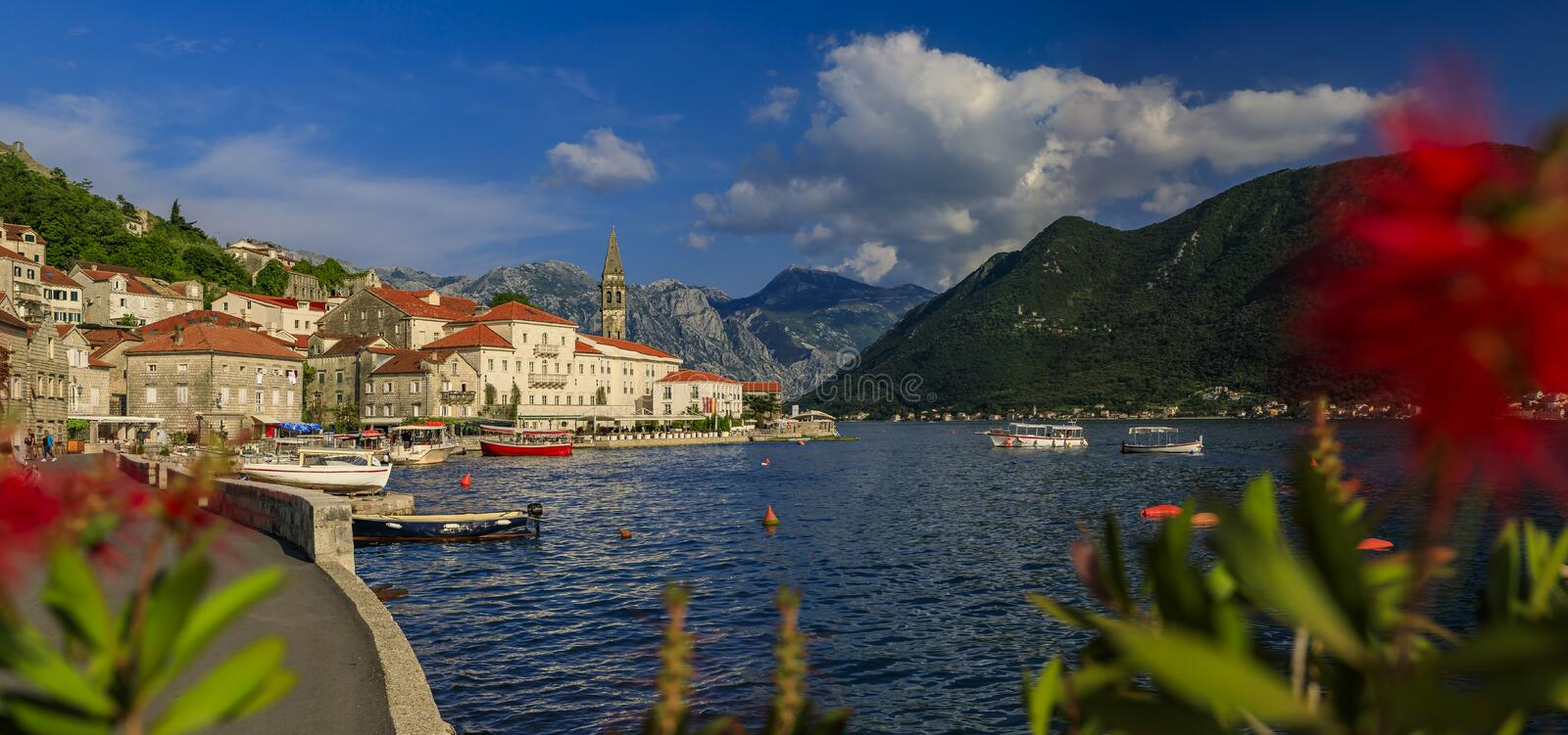 Scenic panorama of the postcard perfect historic town of Perast in Kotor Bay on a sunny day in the summer, Montenegro. Scenic panorama of a postcard perfect stock photo