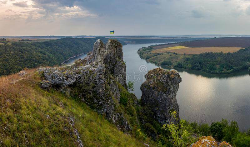 Scenic panorama view from the hill to the reservoir on the Dniester river, Ukraine. royalty free stock image