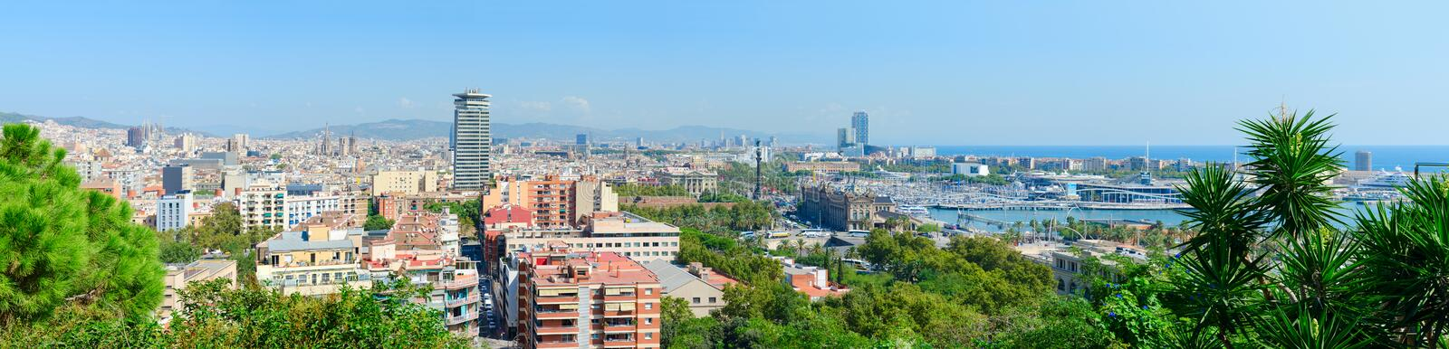 Scenic panoramic view from above to Barcelona, Spain stock photo