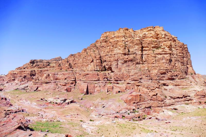 Panoramic View of Ancient Tombs on the Mountain in Petra, Jordan royalty free stock images