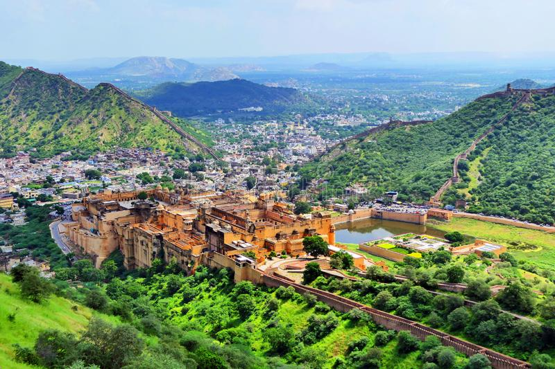 Scenic Panoramic View of The Great Amer Fort in Rajastan Region, India in Summer. Scenic Panoramic View of The Great Amer Fort from the Jaigarh Fort in Rajastan royalty free stock photos