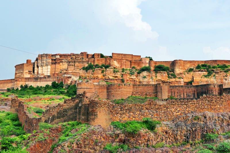 Beautiful Scenery Scenic Panoramic View of Mehrangarh Fort in Jodhpur, Rajastan Region, India. Scenic Panoramic View of Mehrangarh Fort in the Town of Jodhpur stock images