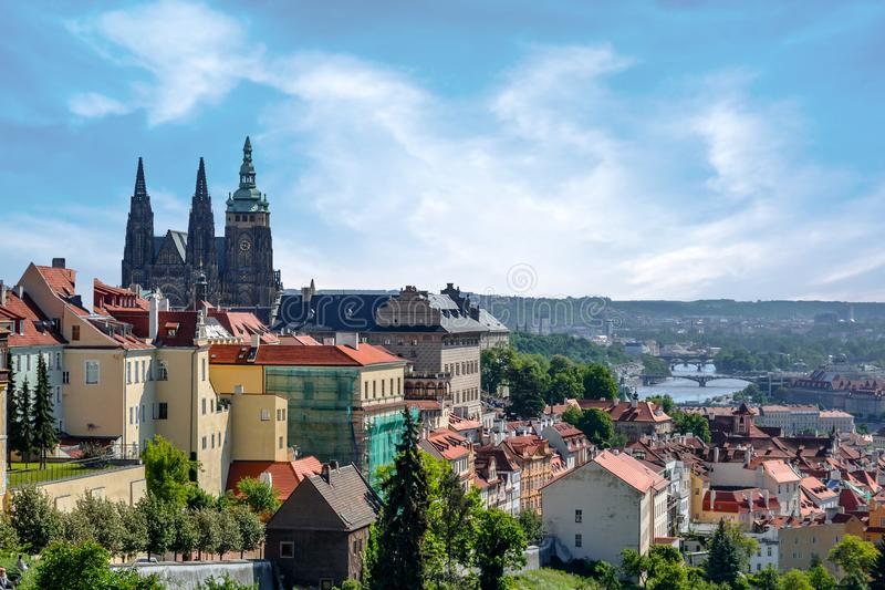 Scenic panoramic vieScenic panoramic view of Prague and bridges , Czech Republicw of Prague, Czech Republic stock photography