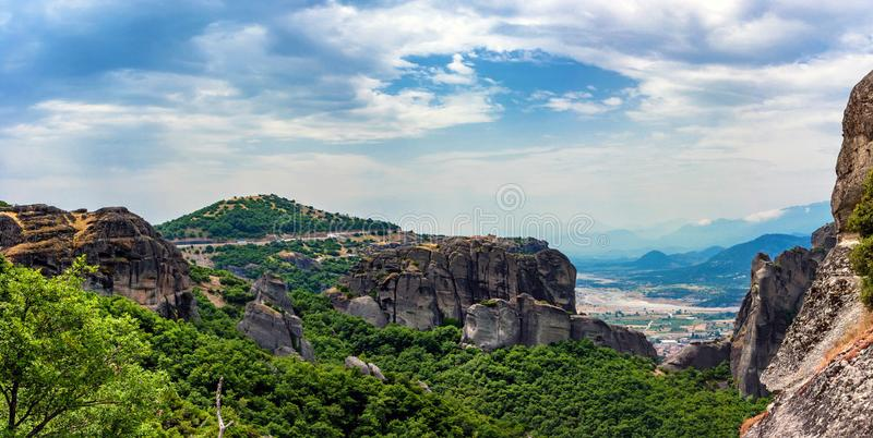 Scenic panoramic view to Meteora monasteries royalty free stock image