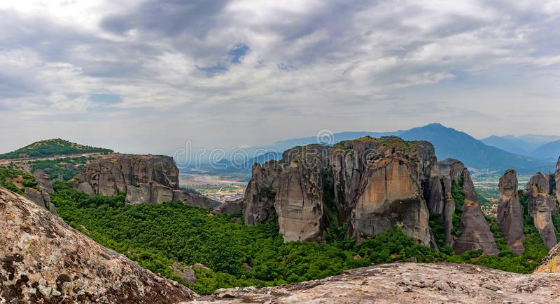 Scenic panoramic view to Meteora monasteries royalty free stock photo