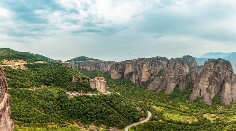 Scenic panoramic view to Meteora monasteries stock images