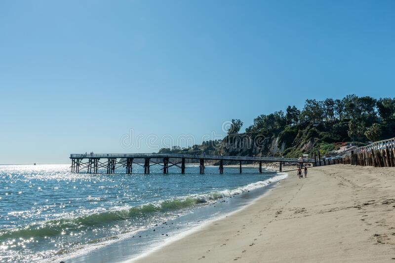 Scenic Paradise Cove pier vista in Malibu, Southern California stock photography