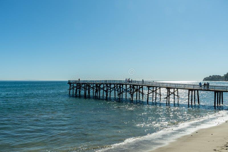 Scenic Paradise Cove pier vista in Malibu, Southern California stock image