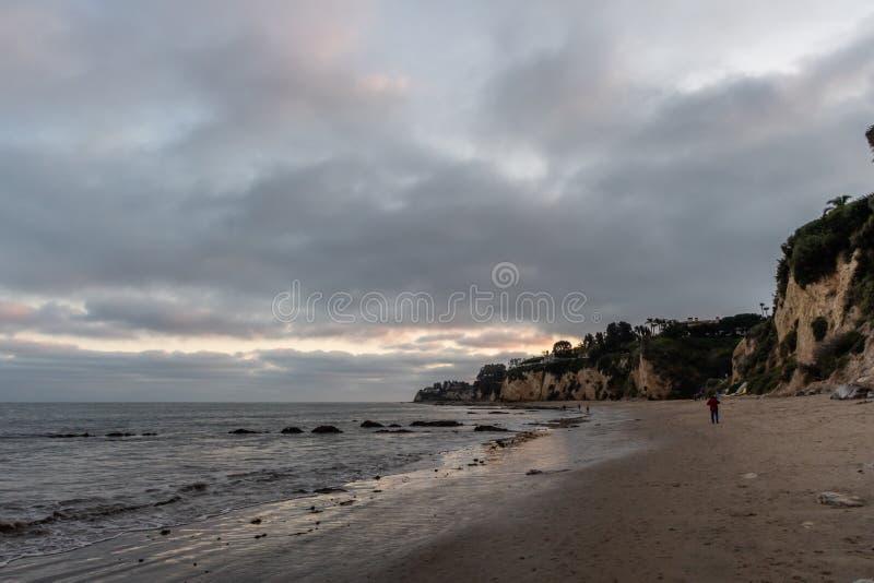 Scenic Paradise Cove vista at sunset, Malibu, California royalty free stock photo