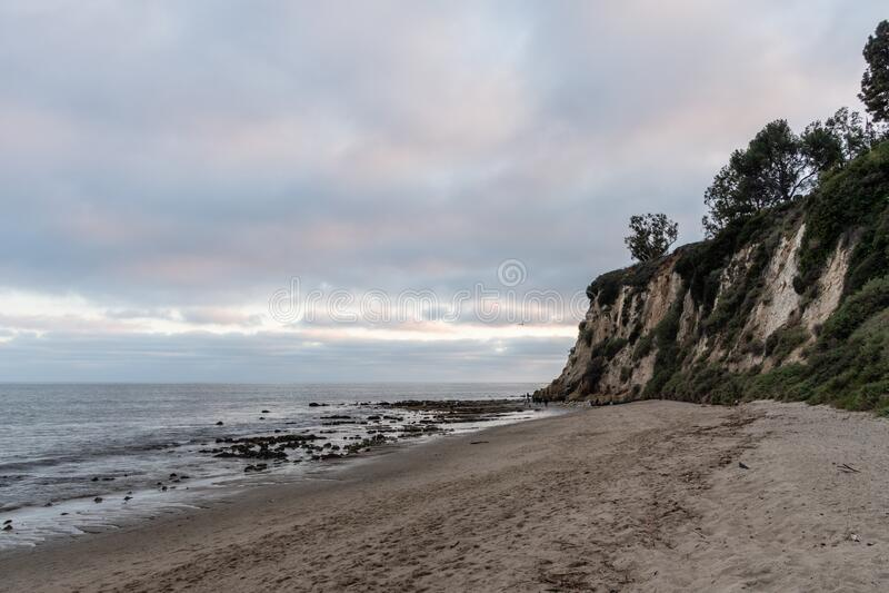 Scenic Paradise Cove vista at sunset, Malibu, California royalty free stock image