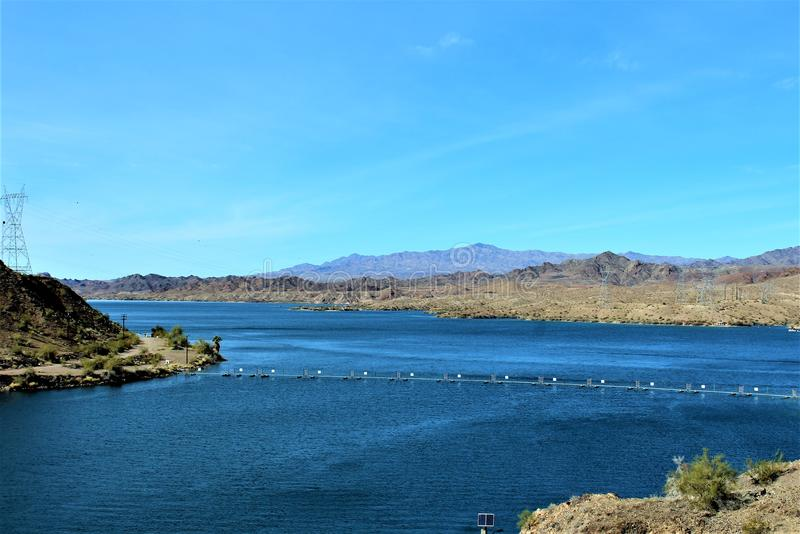 Parker Dam, Parker, Arizona, La Paz County, United States. Scenic Parker Dam spillway in the desert located in Parker, Arizona, La Paz County in the United royalty free stock photos