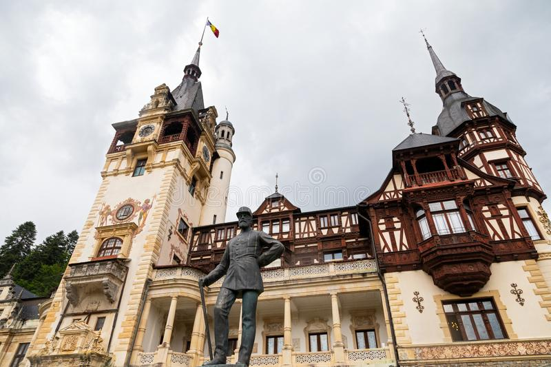 Scenic picture of the Peles Castle in Sinaia, Romania royalty free stock photo