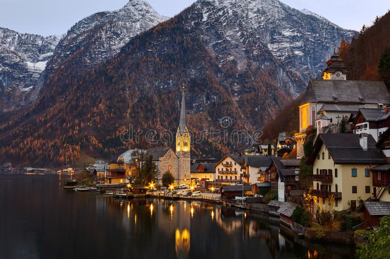 Scenic picture-postcard view of famous historic Hallstatt mountain village, Austria. Scenic picture-postcard view of famous historic Hallstatt mountain village royalty free stock images