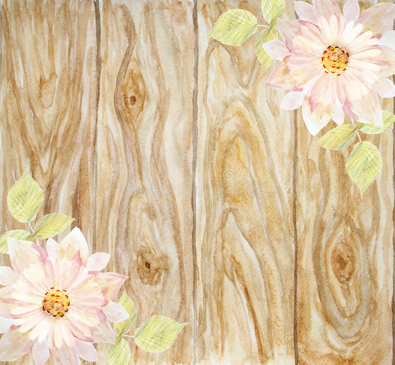 Download Scenic Pink Flower On A Background Of Wooden Boards Handmade Stock Illustration
