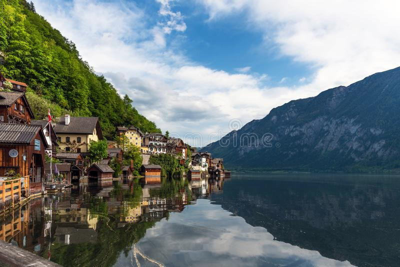 Scenic postcard view of the famous Hallstatt in the Austrian Alps in the summer morning, Salzkammergut district, Austria. View fro royalty free stock photos