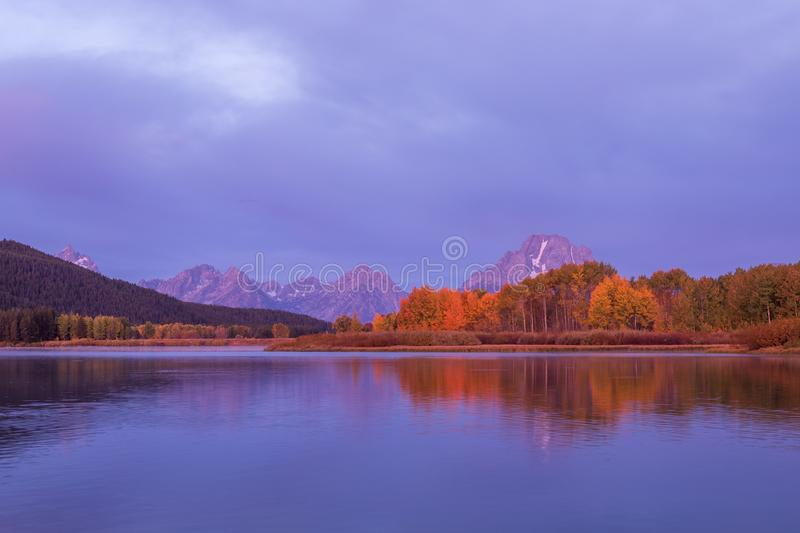Scenic Autumn Reflection in the Tetons at Sunrise royalty free stock photography