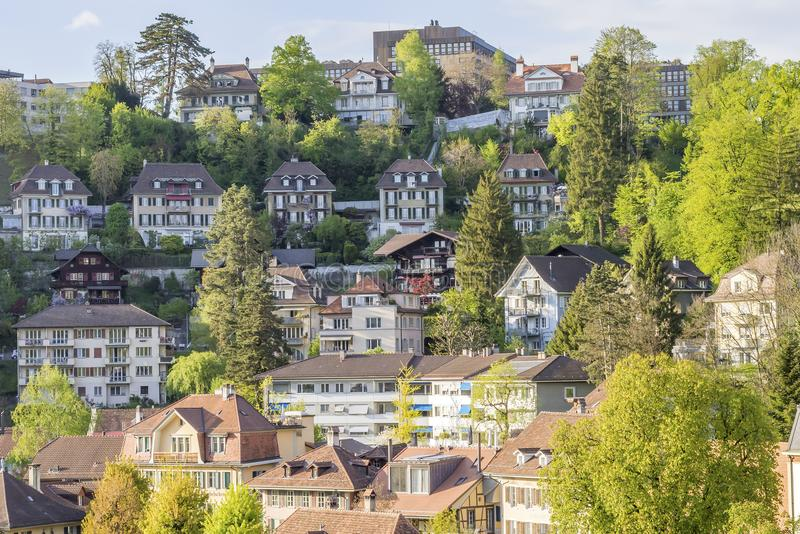Scenic of residental buildings in The city of Bern stock photos