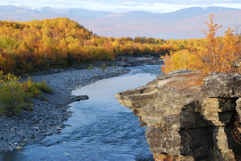 Scenic River In Autumn Royalty Free Stock Photos