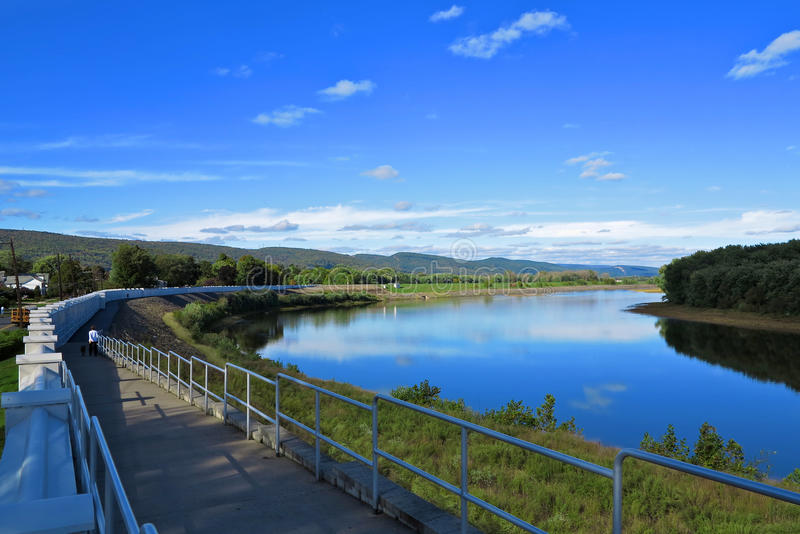 Scenic Riverwalk. Used for recreation runs next to wall along the Susquehanna River in the Wyoming Valley, northeast Pennsylvania royalty free stock photography