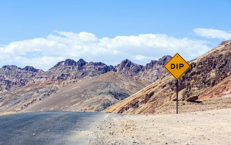 Scenic road Artists Drive with road sign DIP for stock image