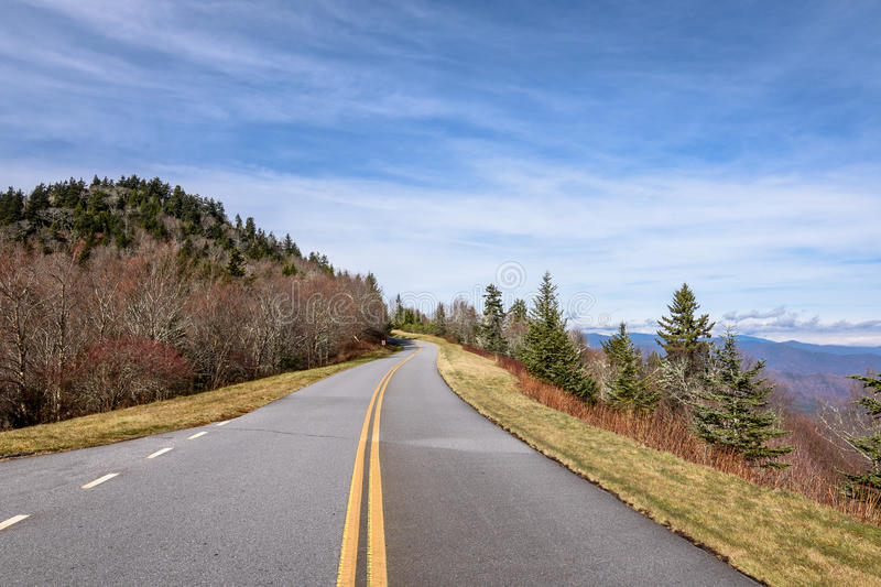 Scenic road view on Blue Ridge Parkway stock photography