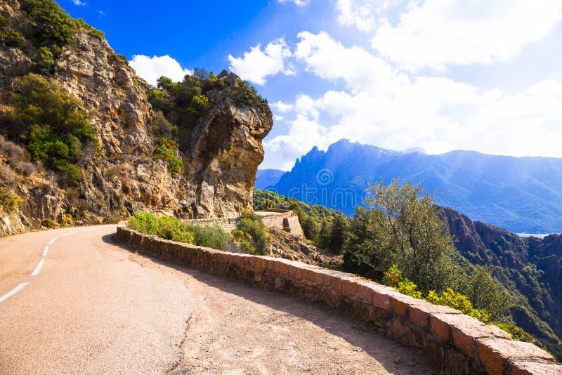 Scenic roads of Corsica. Island stock photo