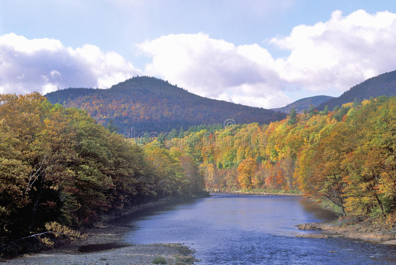 Scenic route on Route 16, north of Gorham, NH in Autumn royalty free stock image