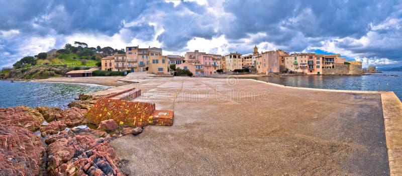 Scenic Saint Tropez waterfront panoramic view, famous tourist destination on Cote d Azur stock images