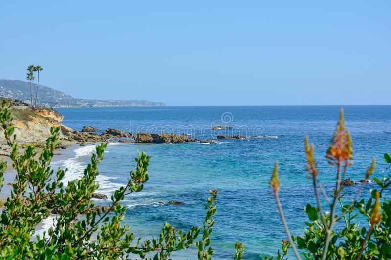 Scenic San Clemente Ocean side close to pier and rails pacific surfliner stock image