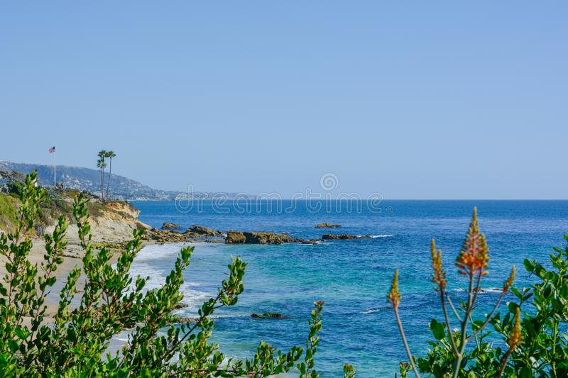 Scenic San Clemente Ocean side close to pier and rails pacific surfliner stock photos