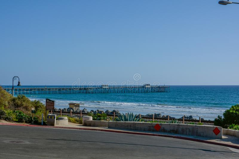 Scenic San Clemente Ocean side close to pier and rails pacific surfliner royalty free stock photography