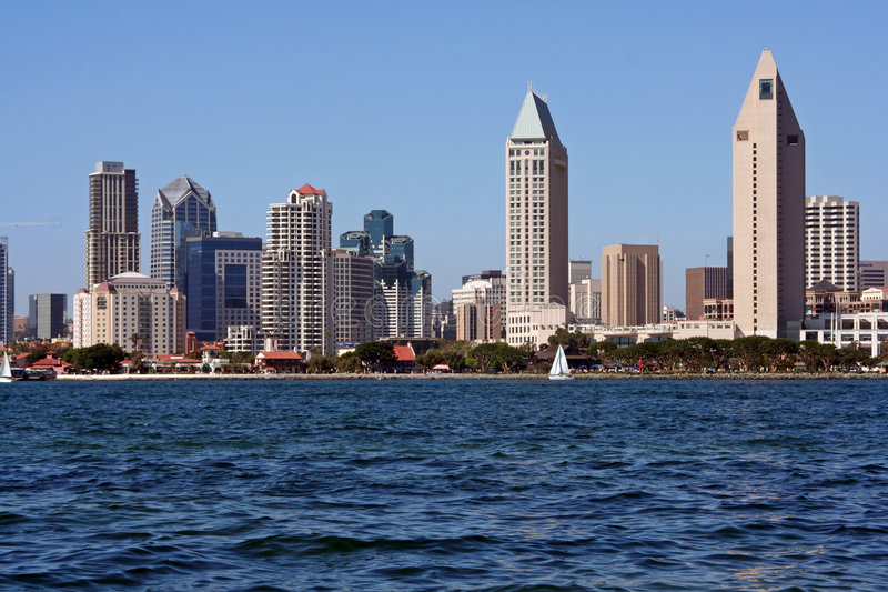Scenic San Diego City skyline. San Diego Bay and downtown San Diego as seen from Coronado Island in California. Blue sky and water stock image