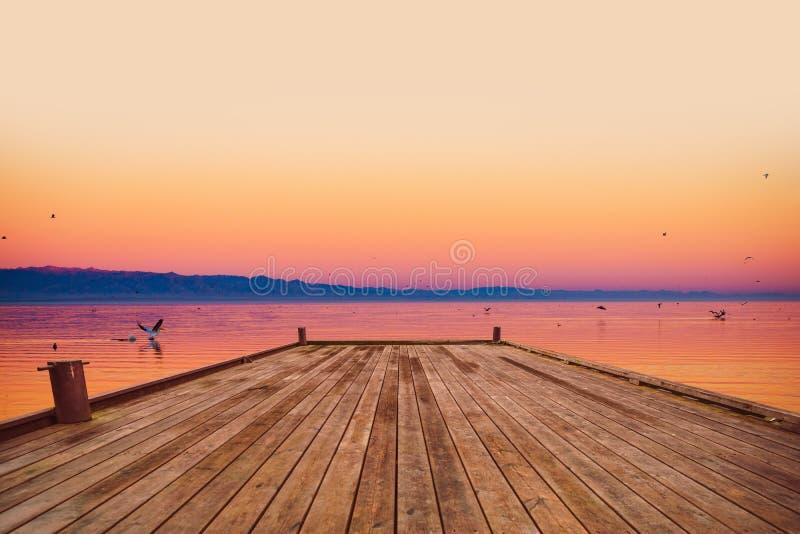 Scenic Sea Deck at Sunset stock photos