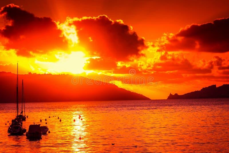 Scenic sea sunset. In Liguria, Italy. Summer landscape stock photo
