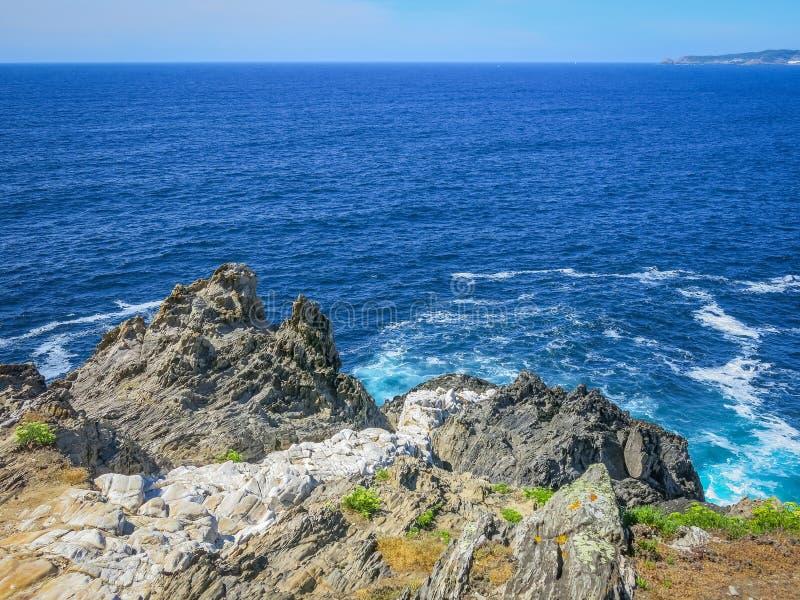 Scenic seascape at Seixo Branco, near Oleiros, A Coruna Province, Galicia. stock image