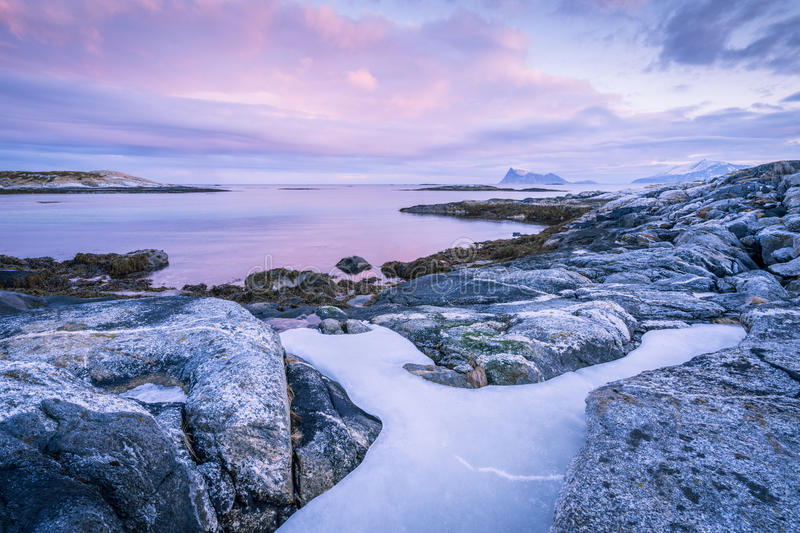 A scenic seascape in Sommaroy, Norway stock image