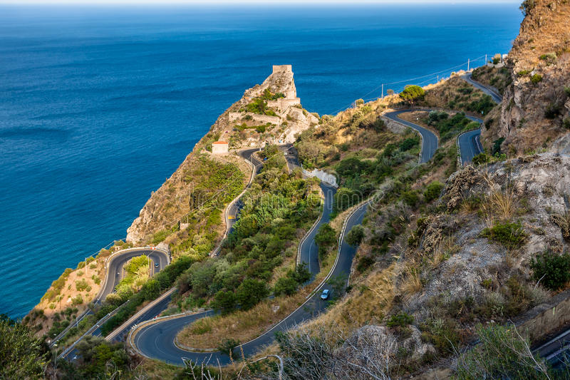 Scenic serpantine road to Forza d'Agro stock image