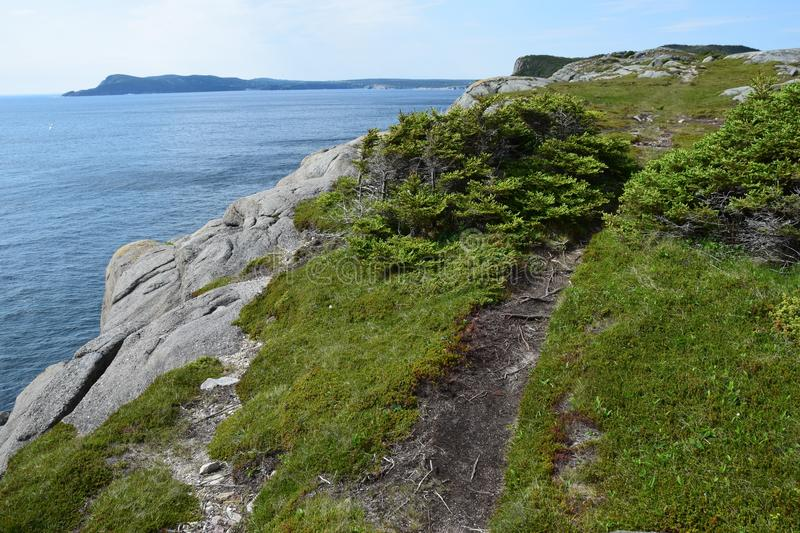 Scenic shoreline at Father Troy East Coast Trail. Scenic view along the shoreline at Father Troy East Coast Trail along the Killick coast near Flatrock NL royalty free stock photography